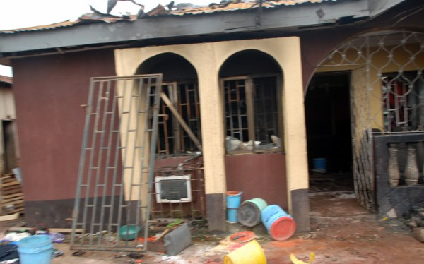 The residence of a former Chairman of RETAN, Mr Rotimi Olanbiwoninu (Mentilo) torched by the arsonist.